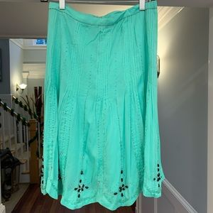 Odille Teal Beaded Midi Skirt Size 0